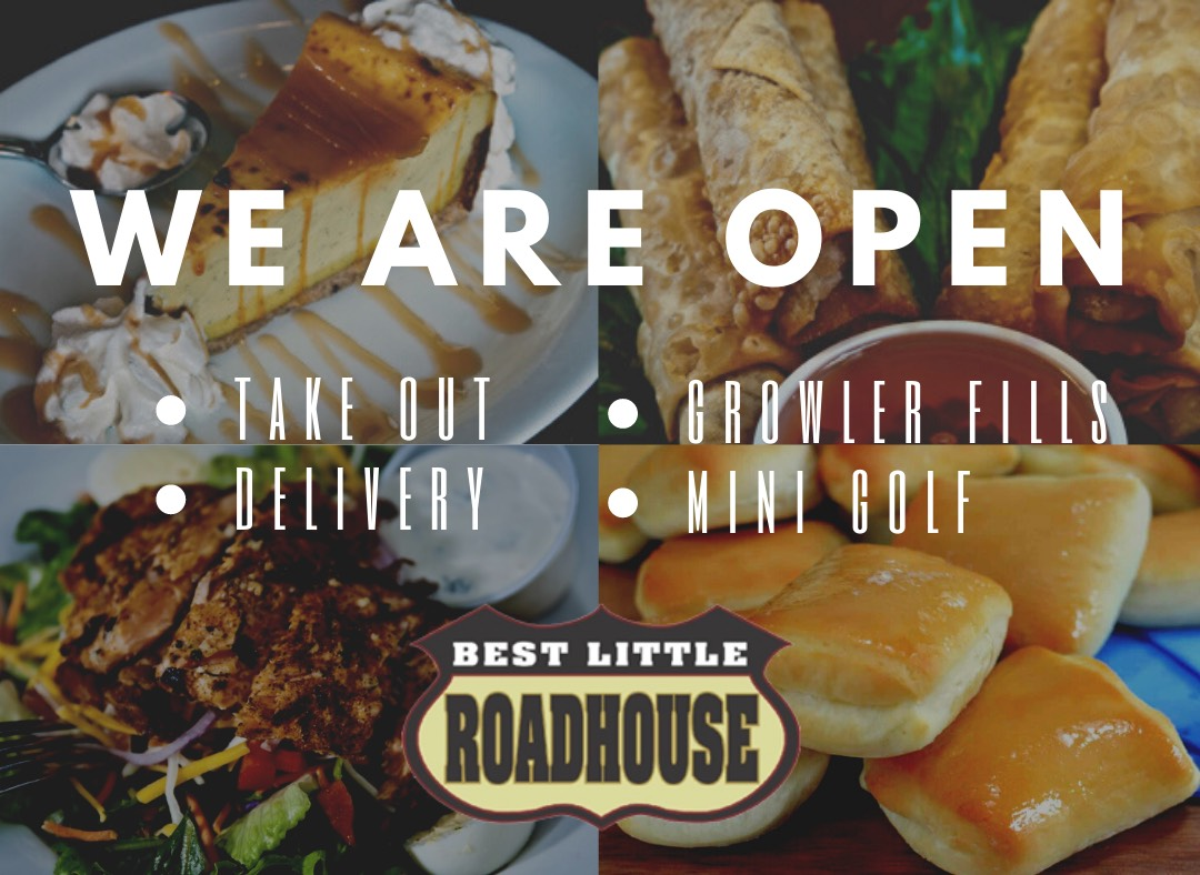 we are open for take out, delivery, growler fills, mini golf